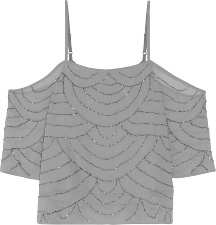 W118 by Walter Baker Roxy cold-shoulder beaded crepe de chine top