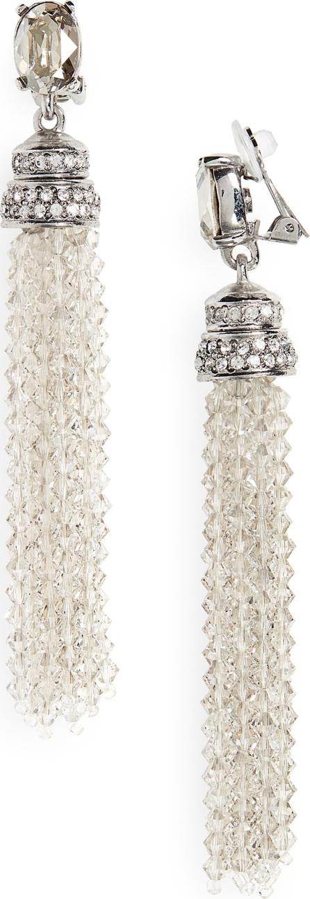 Oscar De La Renta Crystal Tassel Drop Clip Earrings