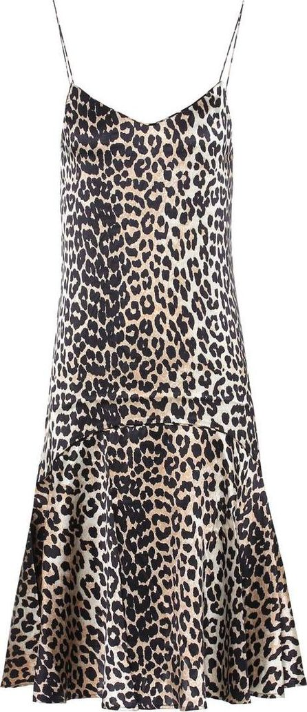 Ganni Dufort leopard-printed silk slip dress