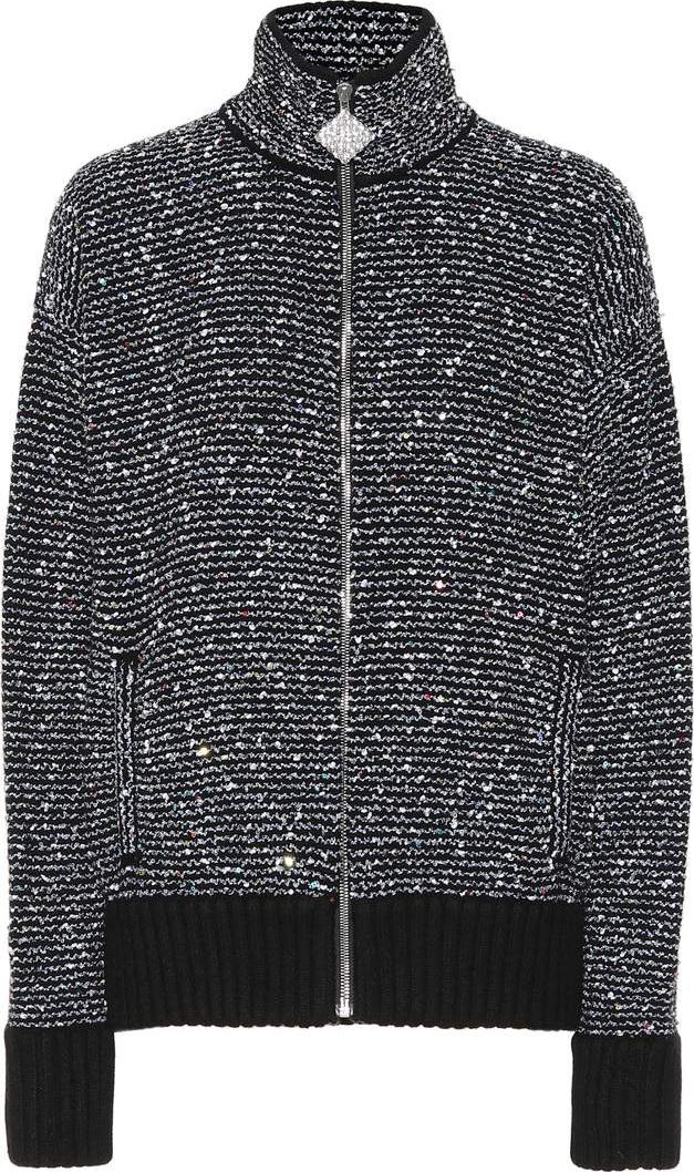 Alessandra Rich - Sequined cashmere-blend jacket