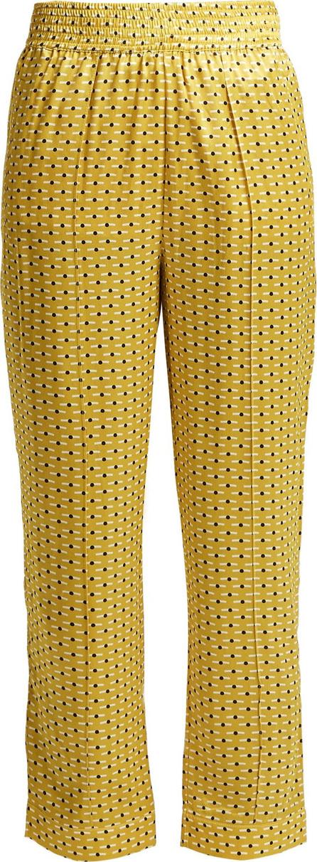 Asceno Geometric-print silk pyjama-style trousers