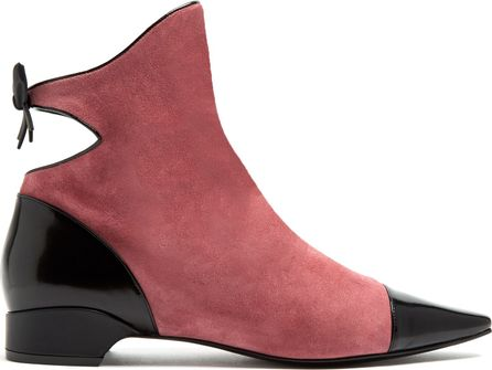 Fabrizio Viti Cut-out detail flat suede ankle boots