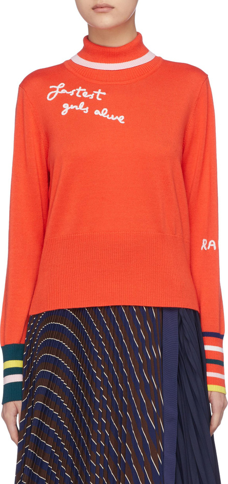Mira Mikati 'Fastest Girls Alive' slogan embroidered turtleneck sweater