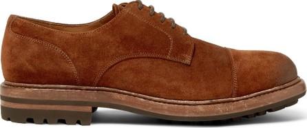 Brunello Cucinelli Cap-Toe Burnished-Suede Derby Shoes