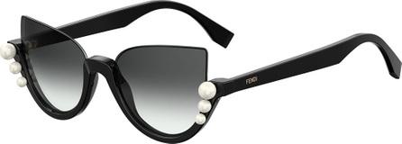 Fendi Blink Half-Rim Pearl Cat-Eye Sunglasses