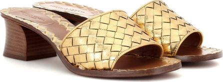 Bottega Veneta Intrecciato metallic leather sandals