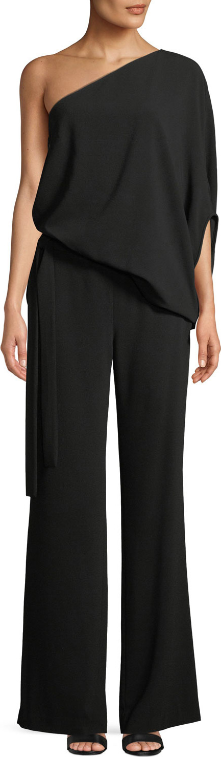 HALSTON HERITAGE One-Shoulder Draped Wide-Leg Jumpsuit