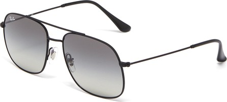 Ray Ban 'RB3595' double bridge metal square sunglasses