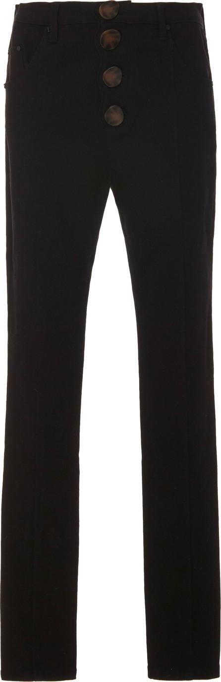 Acler Tana High-Waist Scalloped-Front Denim Jeans