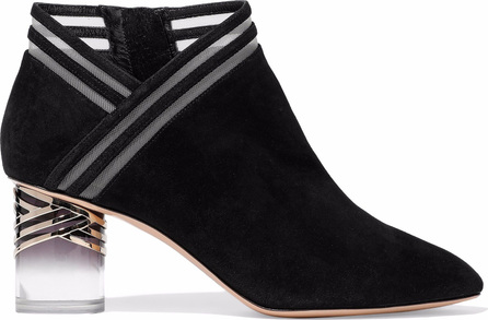 Nicholas Kirkwood Mesh-trimmed suede ankle boots