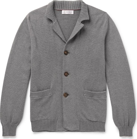 Brunello Cucinelli Contrast-Tipped Cotton Cardigan