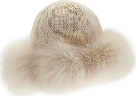 Loro Piana Cashmere & Fox-Fur Hat, Tapioca