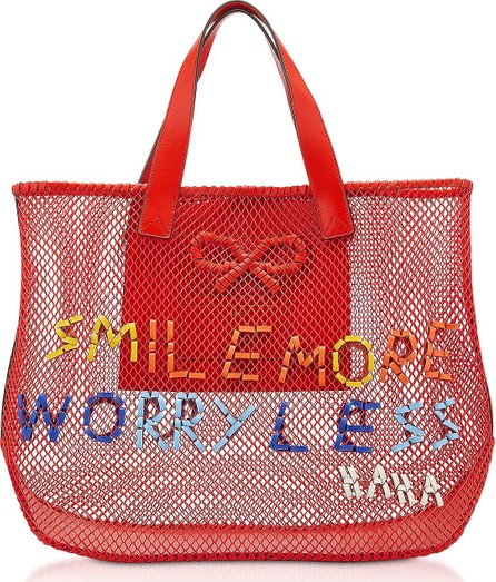 Anya Hindmarch Red Weaving Mesh Smile More N/S Weave Tote