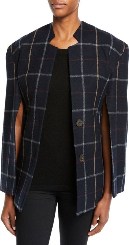A.W.A.K.E Fitted Notch-Collar Check Jacket with Open Sleeves
