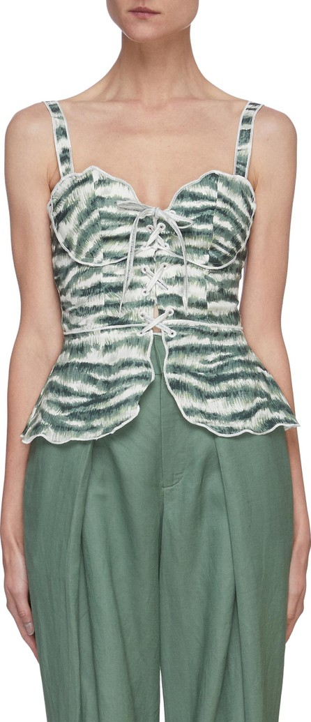 Cult Gaia Shari' graphic print sleeveless lace up corset top