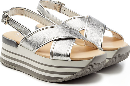 Hogan Metallic Leather Platform Sandals