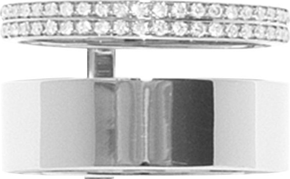 REPOSSI - Berbere Module Two-Row Ring with One Row paved with Diamonds in 18K Gold