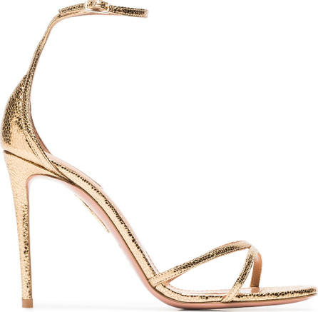 Aquazzura Gold Purist 105 metallic leather sandals