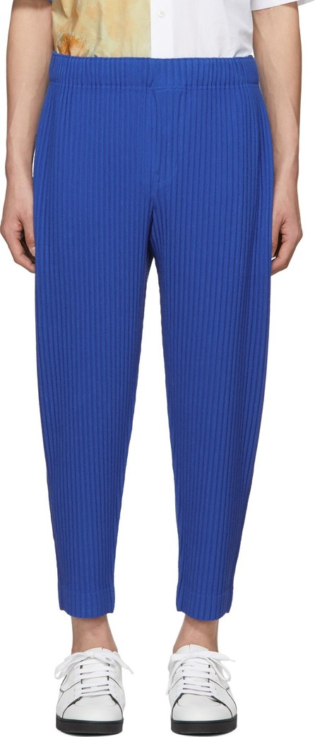 Homme Plissé Issey Miyake Blue Cotton Surface Trousers