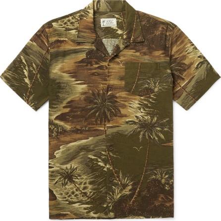 Rrl Slim-Fit Camp-Collar Printed Linen-Blend Shirt