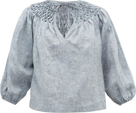 Innika Choo Smocked-yoke linen-chambray blouse