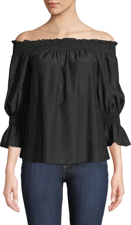 7 For All Mankind Smocked Silk/Cotton Off-the-Shoulder Top
