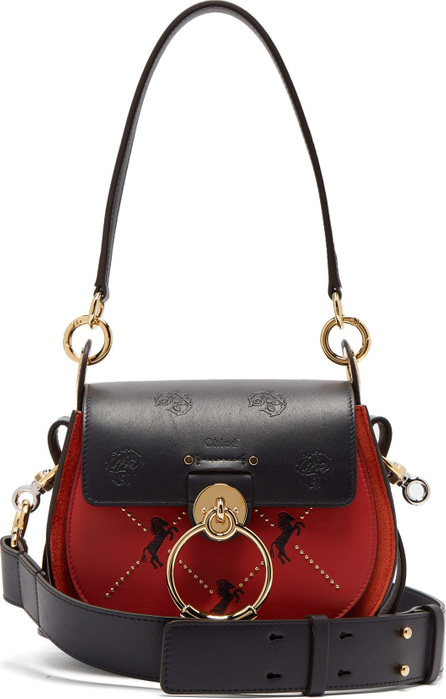 Chloe Tess small embroidered leather cross-body bag