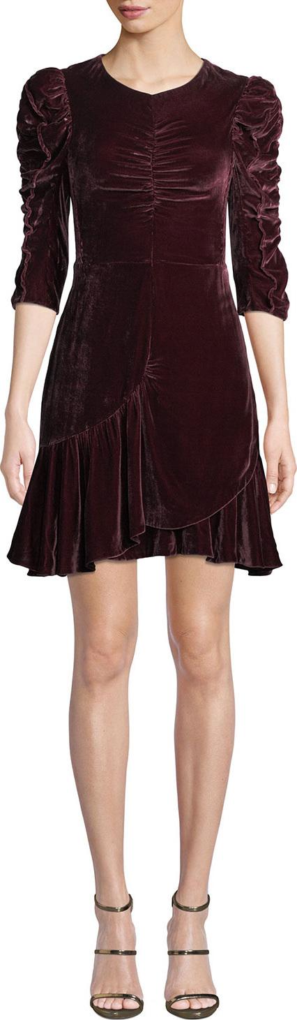 Rebecca Taylor Ruched Velvet 3/4-Sleeve Flounce Dress