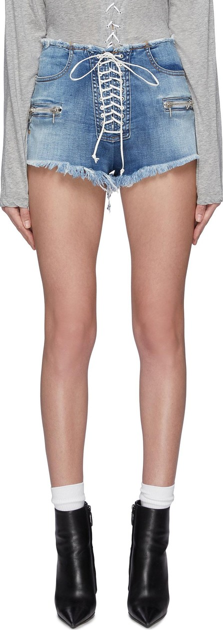 Ben Taverniti Unravel Project Lace-up frayed denim shorts
