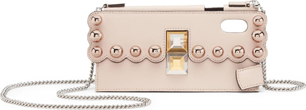 Fendi iPhone Studded Leather iPhone X Crossbody Case