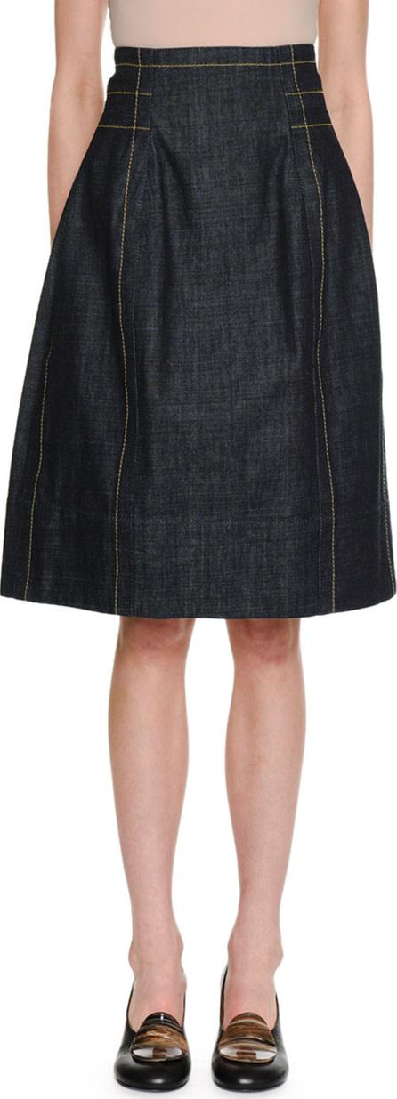 Marni A-Line Back-Zip Denim Knee-Length Skirt w/ Topstitching Detail