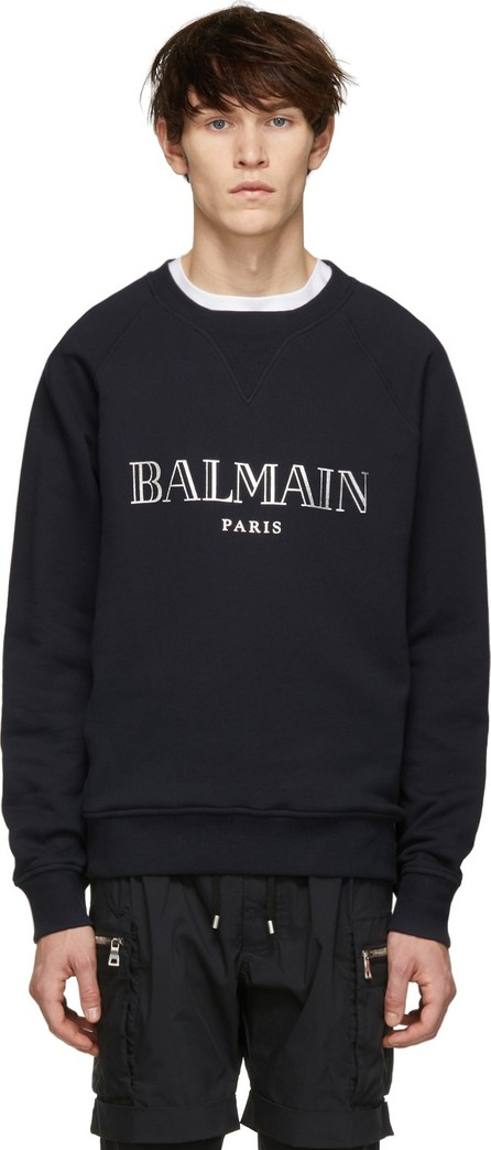 Balmain Navy & Silver Logo Sweatshirt