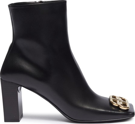 Balenciaga 'Double Square' logo plaque leather ankle boots