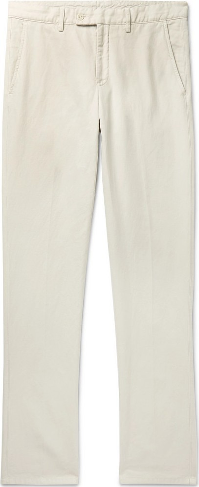 Aspesi Slim-Fit Garment-Dyed Cotton and Linen-Blend Twill Trousers