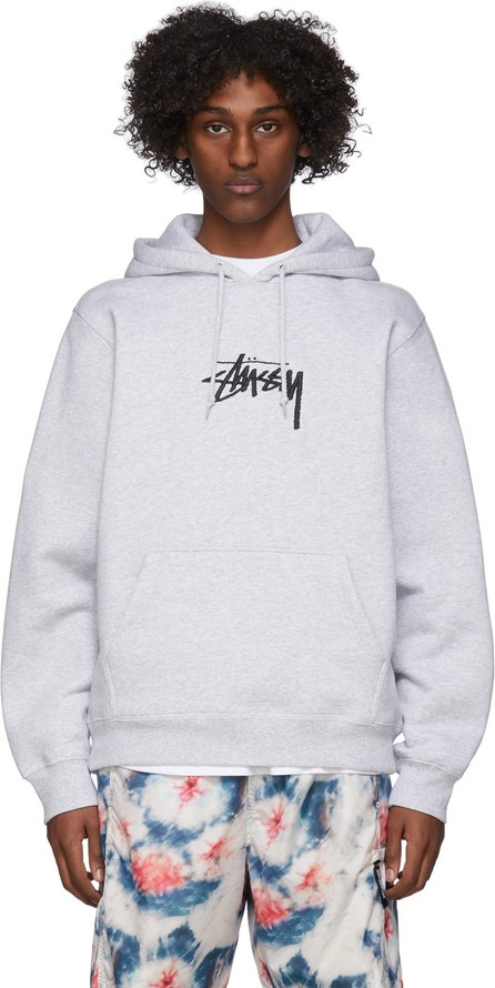Stussy Grey Stock Logo Hoodie