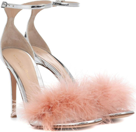 Gianvito Rossi Bliss 100 feather-trimmed sandals