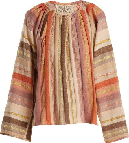 ace&jig Farrah gathered-neck striped cotton-blend blouse