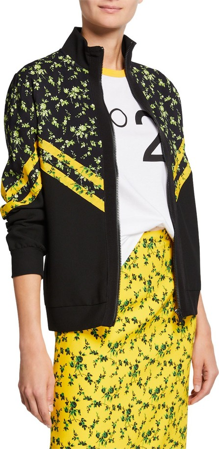 Nº21 Floral Pattern Chevron Stand Collar Sports Jacket