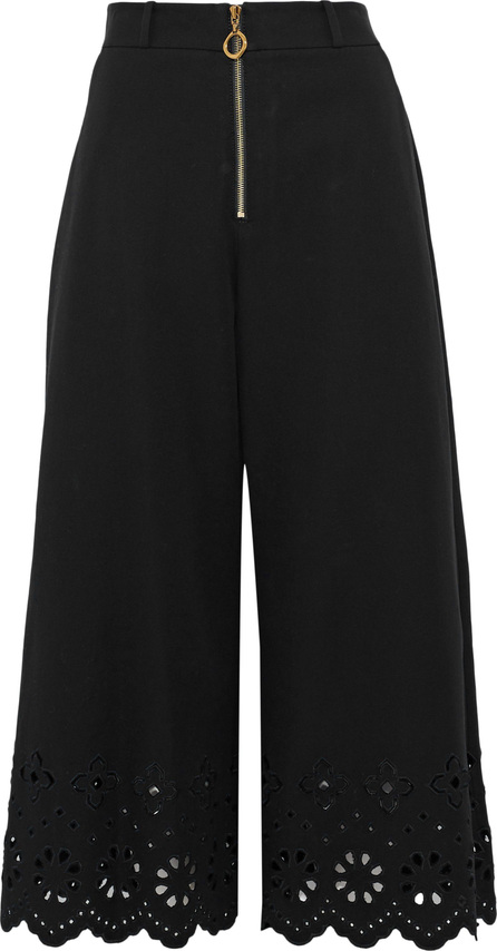 Derek Lam 10 Crosby Broderie anglaise-trimmed cotton-blend twill culottes