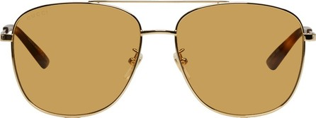Gucci Gold & Brown Navigator Sunglasses