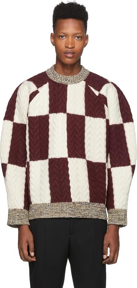 Sunnei Burgundy & Off-White Wool Oversize Sweater