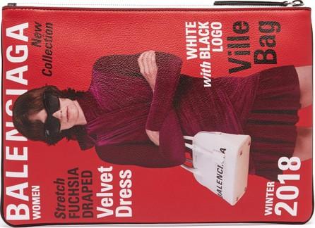 Balenciaga Magazine-print leather pouch
