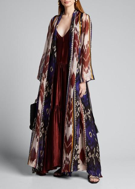 Forte Forte Encens Printed Slub Voile Long Kimono