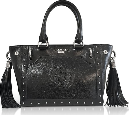 Balmain Black Leather Top Handle Mini Tote bag