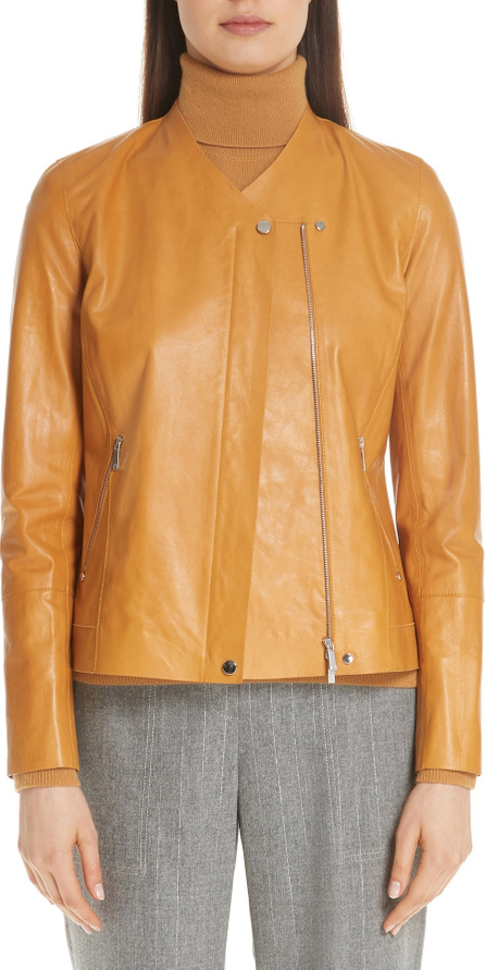Lafayette 148 New York Devlin Glazed Lambskin Leather Jacket