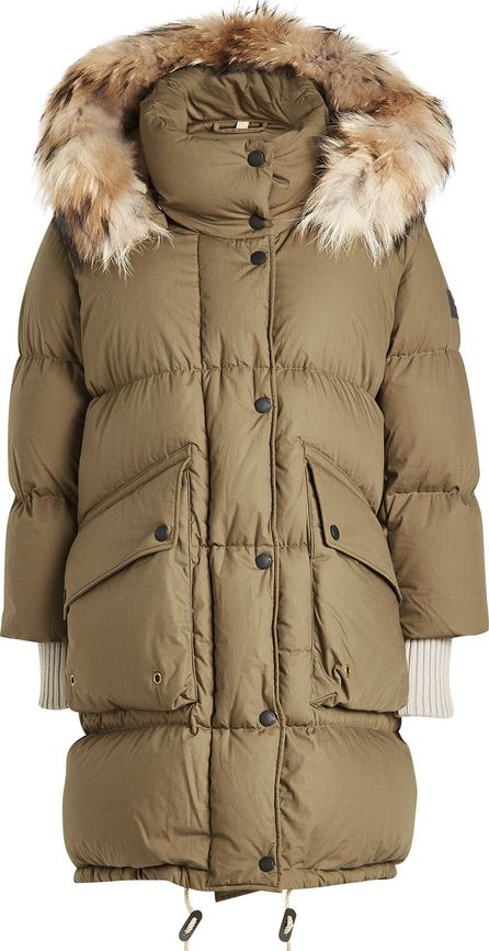 Burberry London England Quilted Down Jacket with Fur-Trimmed Hood and Knit Cuffs
