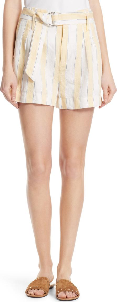 FRAME DENIM Belted Stripe Linen Shorts