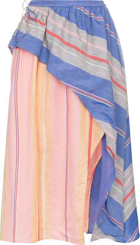 A Peace Treaty Tarouba stripe high waist silk cotton-blend skirt