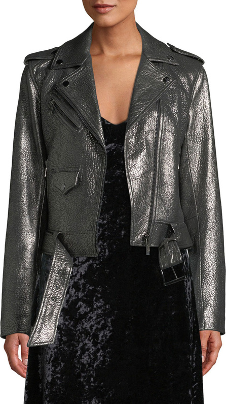 MICHAEL MICHAEL KORS Metallic Leather Moto Jacket