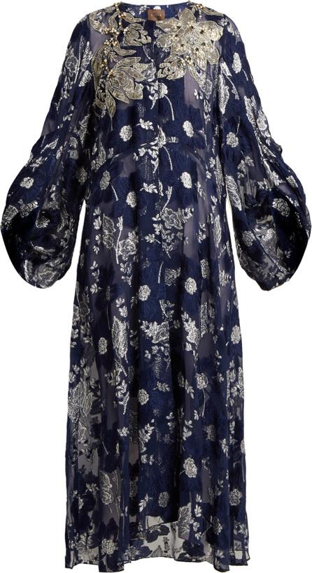 Biyan Floral-embroidered silk-blend coat